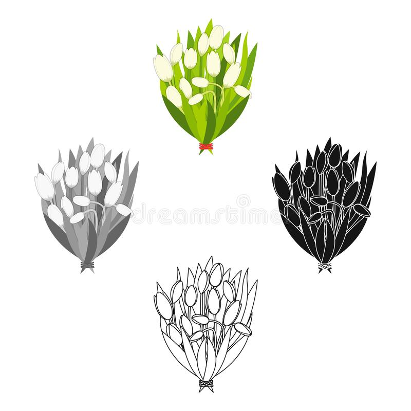 A bouquet of fresh flowers single icon in cartoon,black,black,monochrome,outline style for design. Bouquet vector symbol. Stock illustration royalty free illustration
