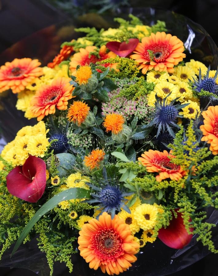Bouquet Of Fresh Flowers To Give To Your Wife Stock Image - Image of ...