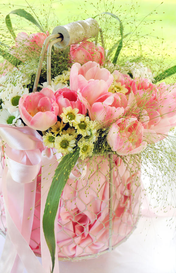 Bouquet Of Fresh Pink Flowers In A Vase Stock Image - Image of ...