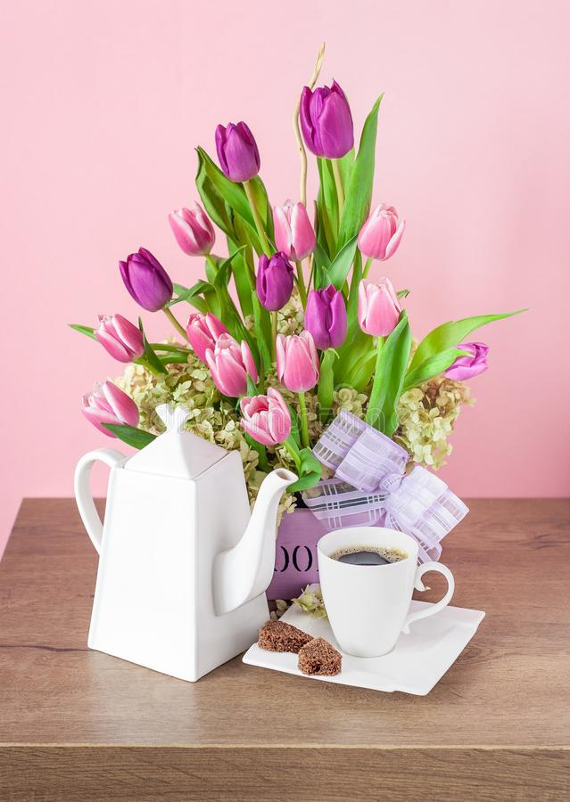 Bouquet of Fresh Pink Tulips and Coffee Set stock photography