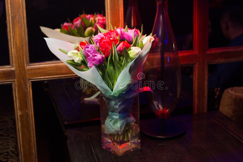 Bouquet with fresh tulips royalty free stock image