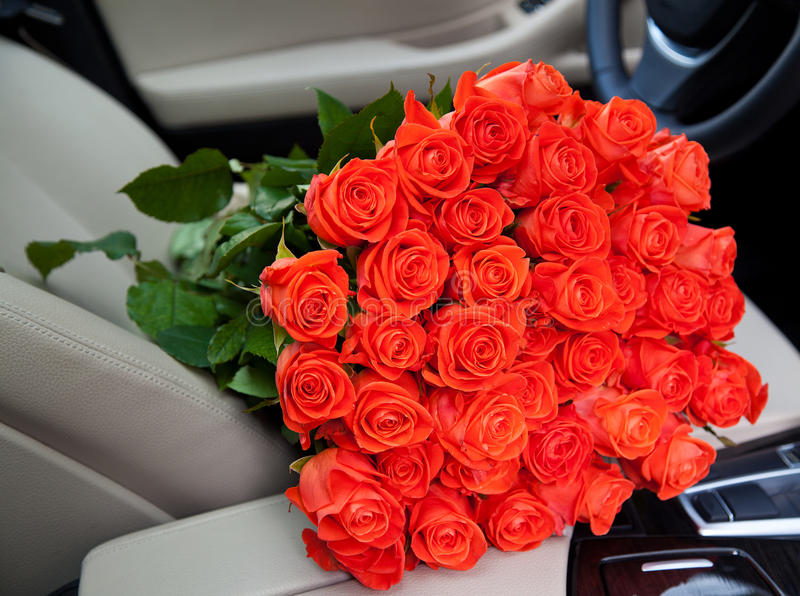 Expensive Car For Sale Or Gift Royalty Free Stock Image: Bouquet Of Freshly Red Roses Stock Photo