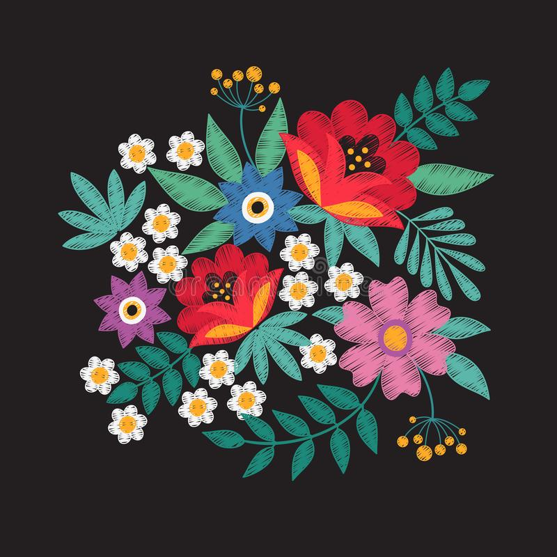 Bouquet of garden flowers. Floral embroidery designs fashion vector design royalty free illustration