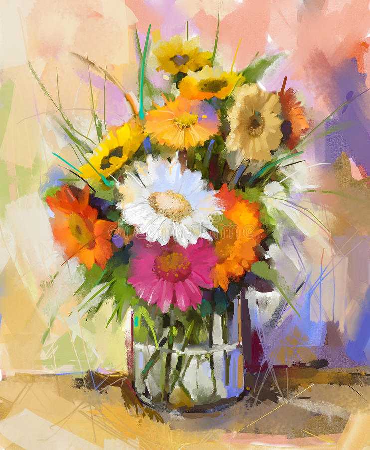 Oil Painting ฺBouquet Gerbera Flowers. Stock Illustration ...