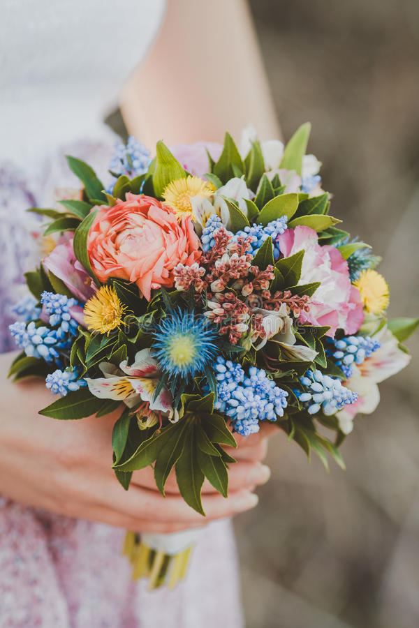 The bouquet in hand stock image