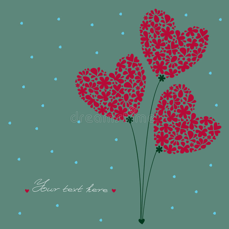 Bouquet of Hearts stock illustration