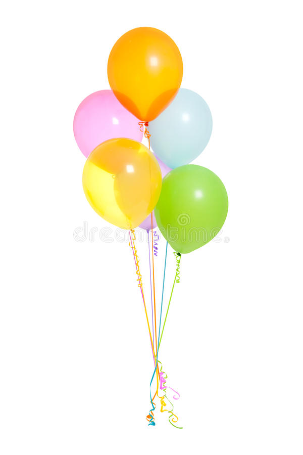 Bouquet of Helium Balloons Isolated. With curly strings added to bottom stock photos