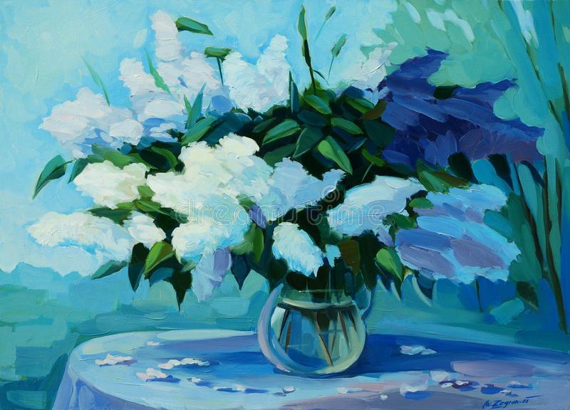 Bouquet humide de cerise et de lilas d'oiseau, peignant illustration de vecteur
