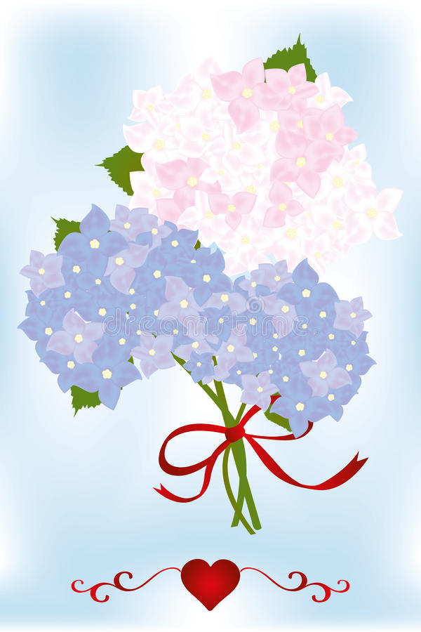 Bouquet of hydrangea flowers and green leaves with red heart. Neutral card template stock illustration