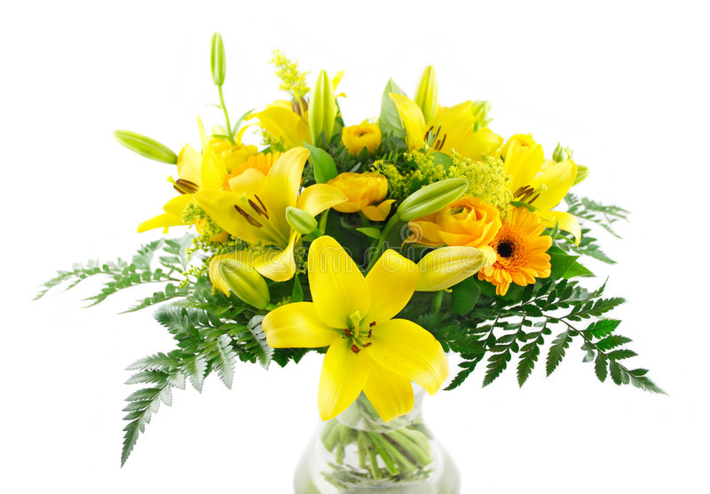 Bouquet jaune de lis image stock