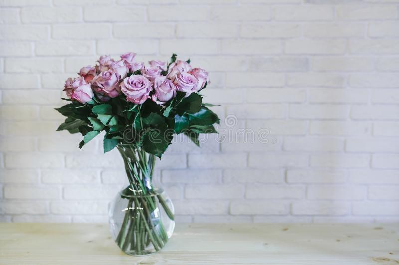 A bouquet of large pink roses close up royalty free stock image