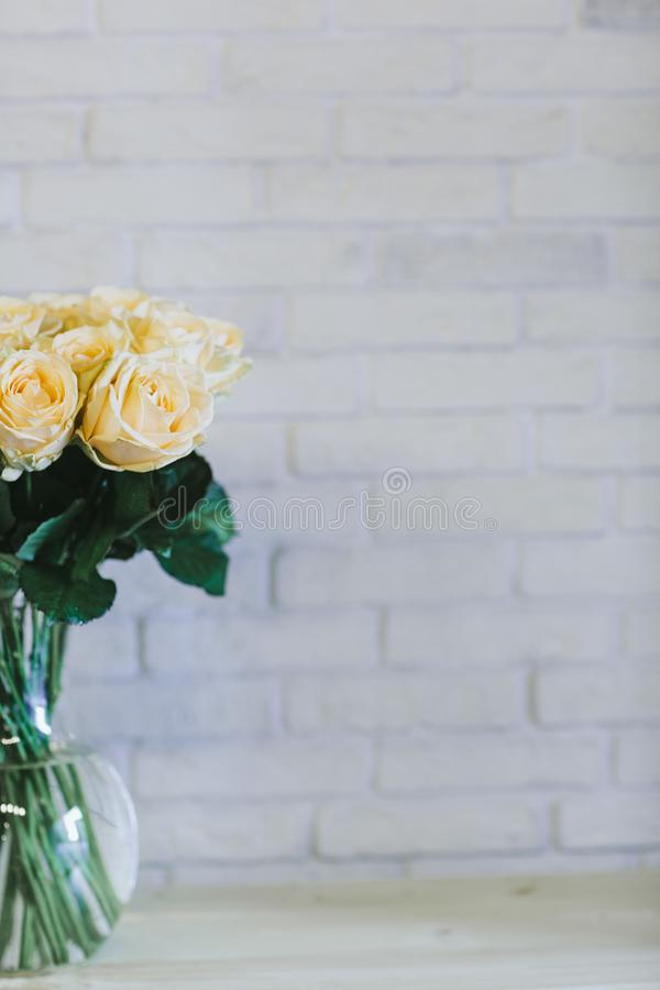 Bouquet of large yellow roses close up royalty free stock photos