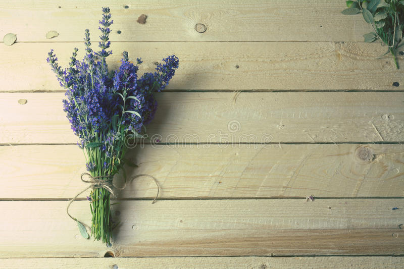 Bouquet of lavender on rustic wood royalty free stock photo