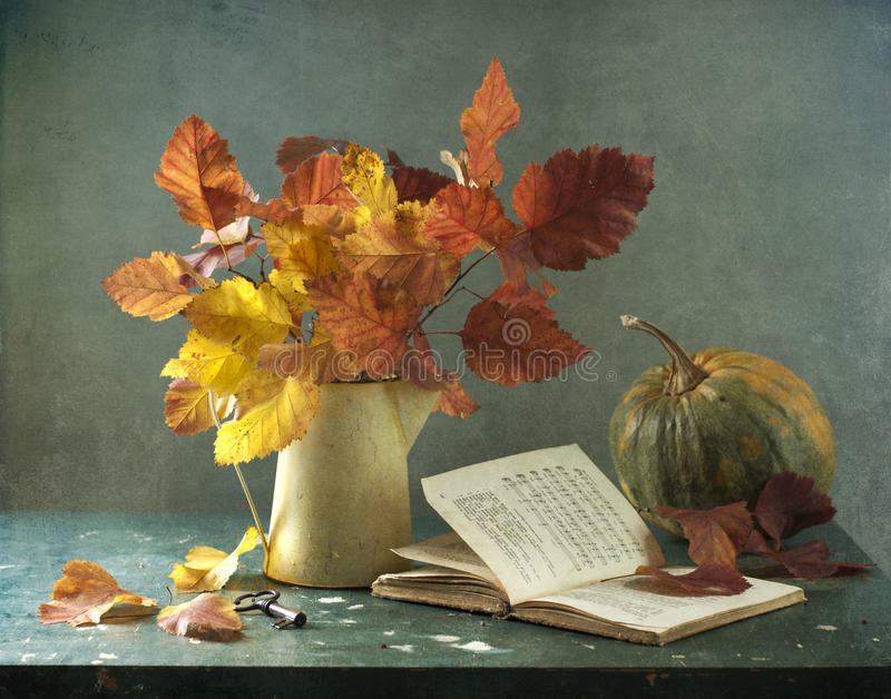 Download Bouquet Of Leaves And Pumpkin Stock Photo - Image: 21579446
