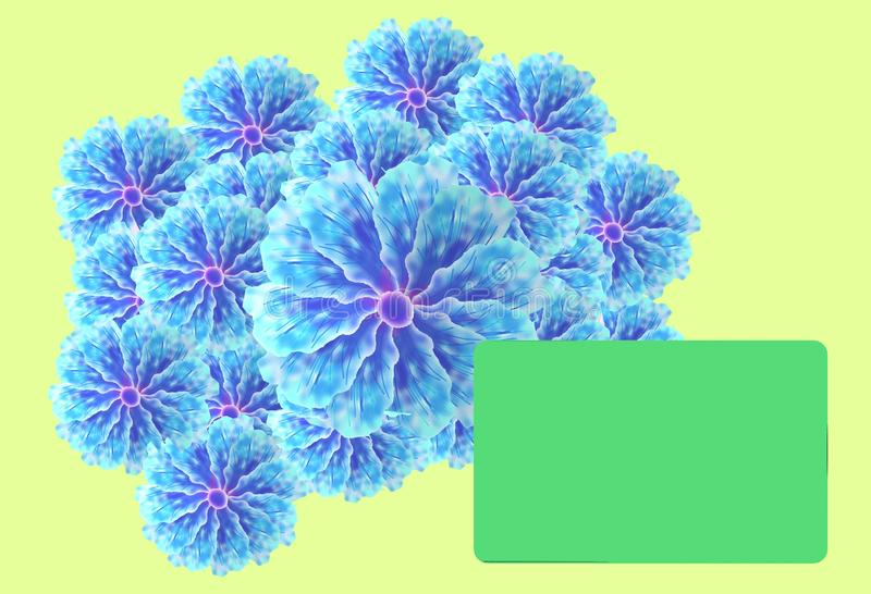 A bouquet of light azure blue flowers with a blank green gift card. A three dimensional computer generated illustration image of a bouquet of light azure blue vector illustration