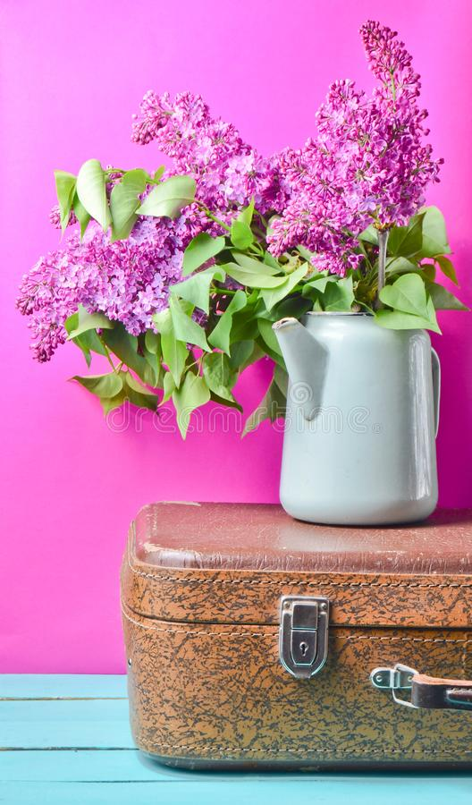 Bouquet of lilac in an old enameled teapot on vintage suitcase on pink background. Retro style still life. Bouquet of lilac in an old enameled teapot on vintage royalty free stock image