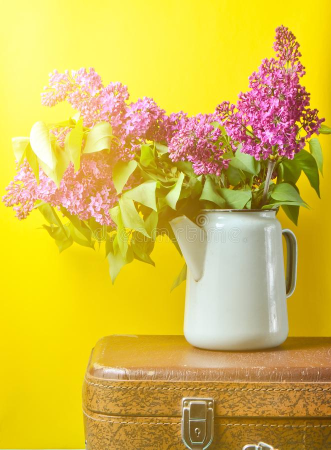 Bouquet of lilac in an old enameled teapot on vintage suitcase on yellow background. Retro style still life. Bouquet of lilac in an old enameled teapot on royalty free stock photos