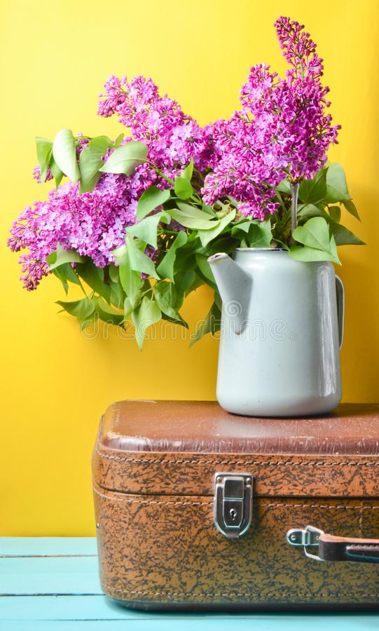 Bouquet of lilac in an old enameled teapot on vintage suitcase on yellow background. Retro style still life. Bouquet of lilac in an old enameled teapot on royalty free stock photo