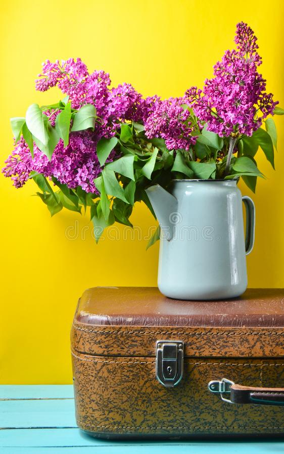 Bouquet of lilac in an old enameled teapot on vintage suitcase on yellow background. Retro style still life. Bouquet of lilac in an old enameled teapot on royalty free stock images