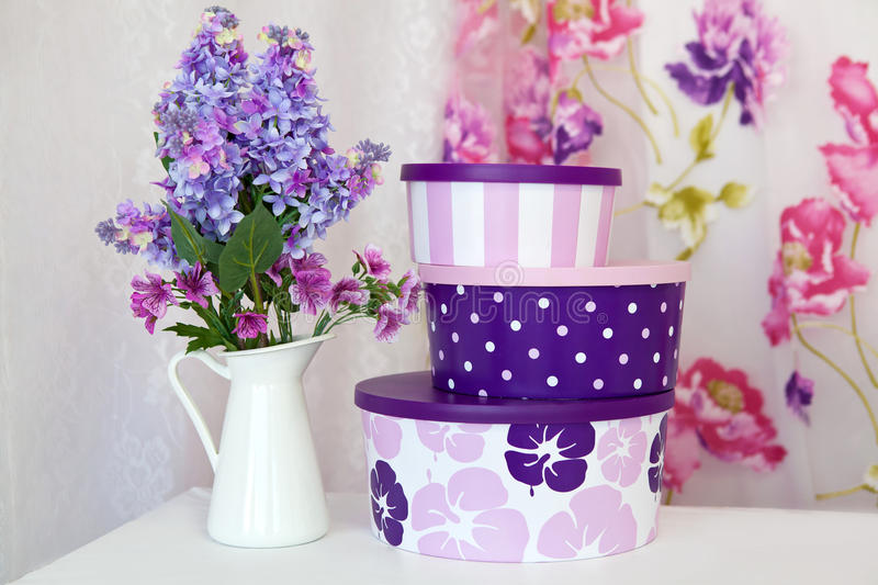 Bouquet of lilac in a white vase royalty free stock images