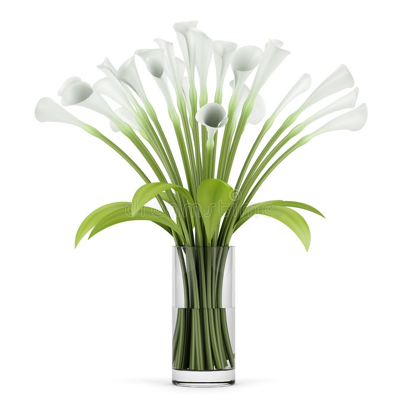 Download Bouquet Of Lilies In Glass Vase  On White Stock Illustration - Image: 25635734