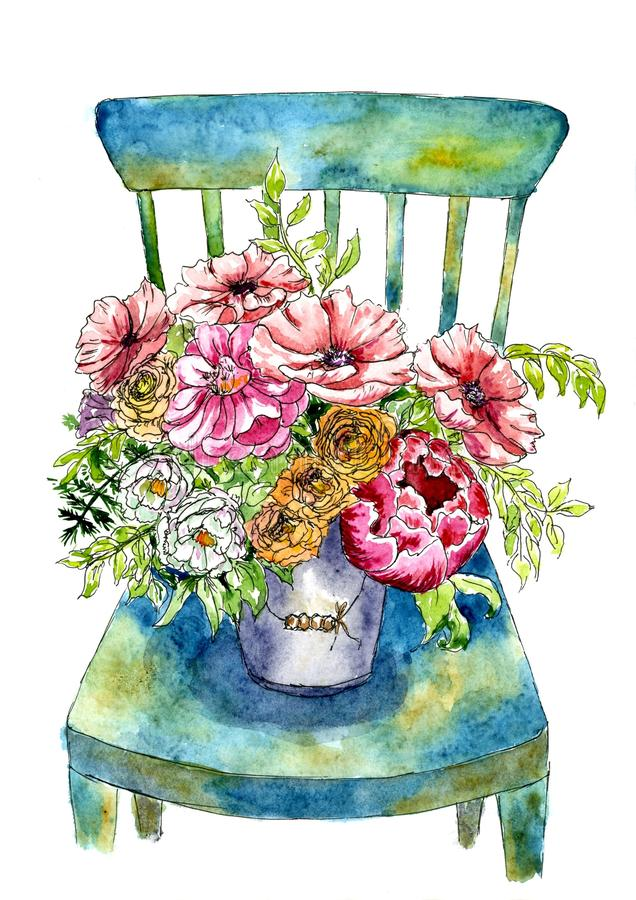 Bouquet luxueux des fleurs dans un seau sur une chaise Peint dans l'aquarelle illustration de vecteur