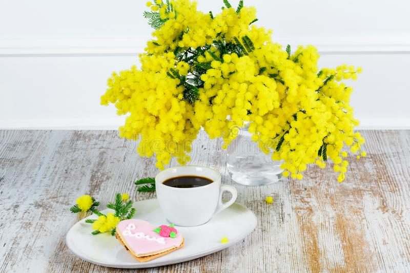 Bouquet of mimosa on the rustic background. stock photo