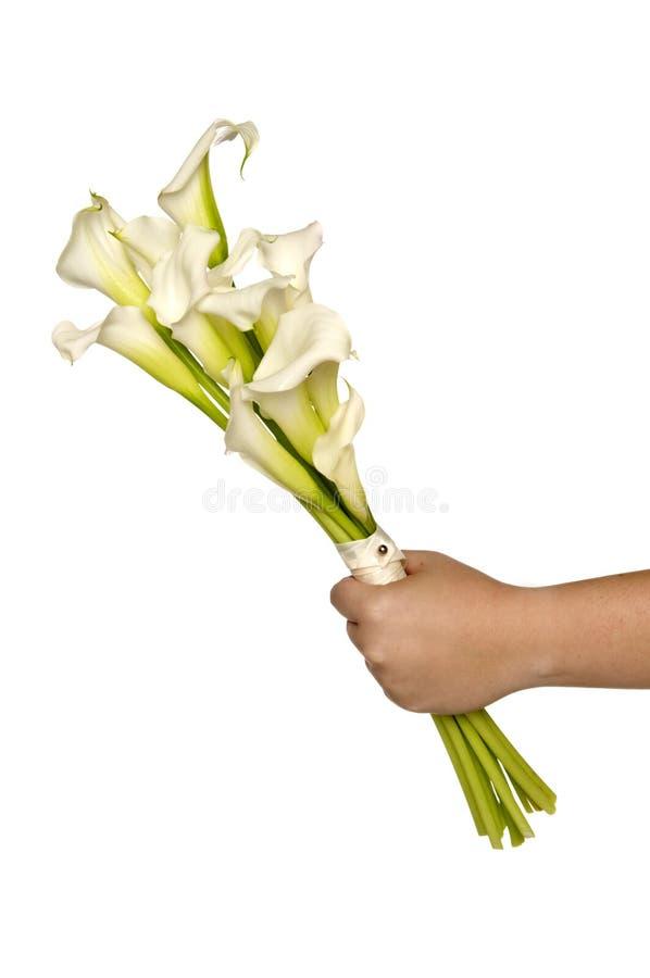 Bouquet nuptiale de Lilly de calla blanche photographie stock libre de droits