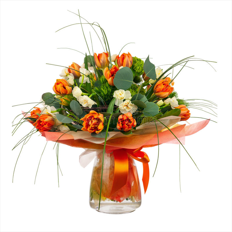 Free Bouquet Of Narcissus, Tulips And Other Flowers In Glass Vase. Stock Images - 53563004