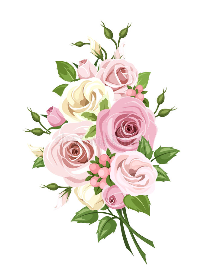 Free Bouquet Of Pink And White Roses And Lisianthus Flowers. Vector Illustration. Royalty Free Stock Photography - 74683907