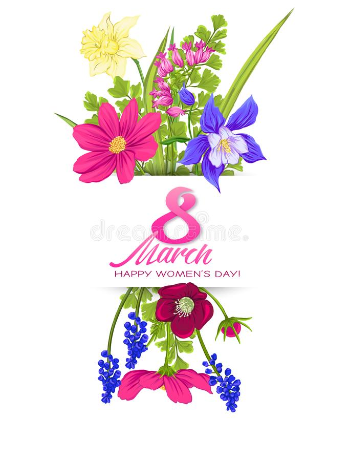 Free Bouquet Of Spring Flowers For 8 March. Colorful Realistic Vector Illustration Royalty Free Stock Photo - 124820135