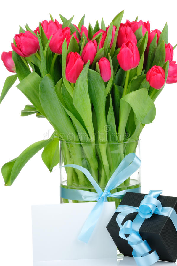 Free Bouquet Of Tulips And A Present Royalty Free Stock Image - 12547586