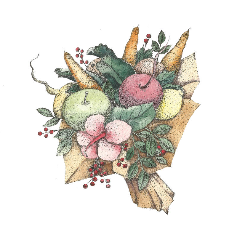 Free Bouquet Of Vegetables Watercolor And Pointillism, Seedbed, Kaleyard Stock Images - 65604834