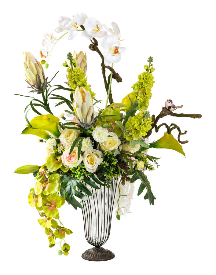 Bouquet of orchid and calla lily in glass vase royalty free stock images