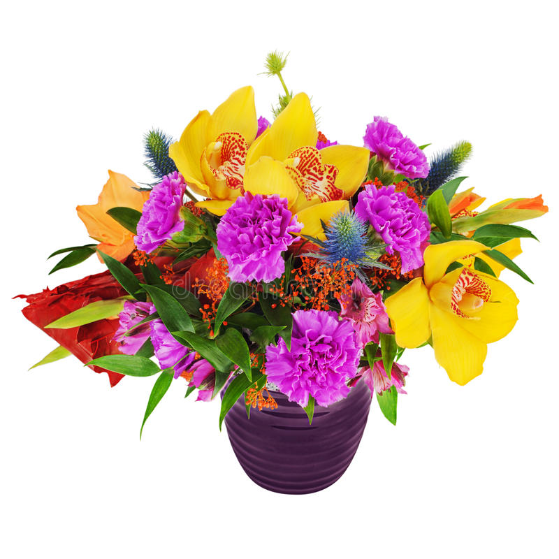Bouquet of orchids gladioluses and carnations in glass