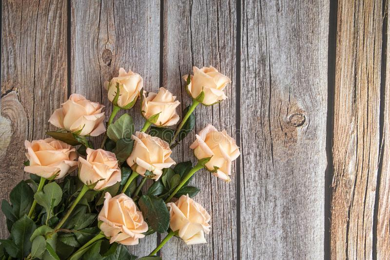 A bouquet of peach color roses. Flat view image of a bouquet of peach color roses, on brown wooden background, bright, pretty, flowers, flora, floral, leaves stock image