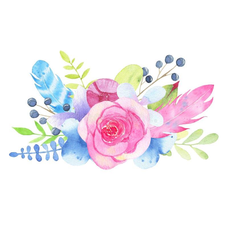 Bouquet peint à la main et feuilles de mariage de fleur d'aquarelle d'isolement sur le fond blanc illustration stock