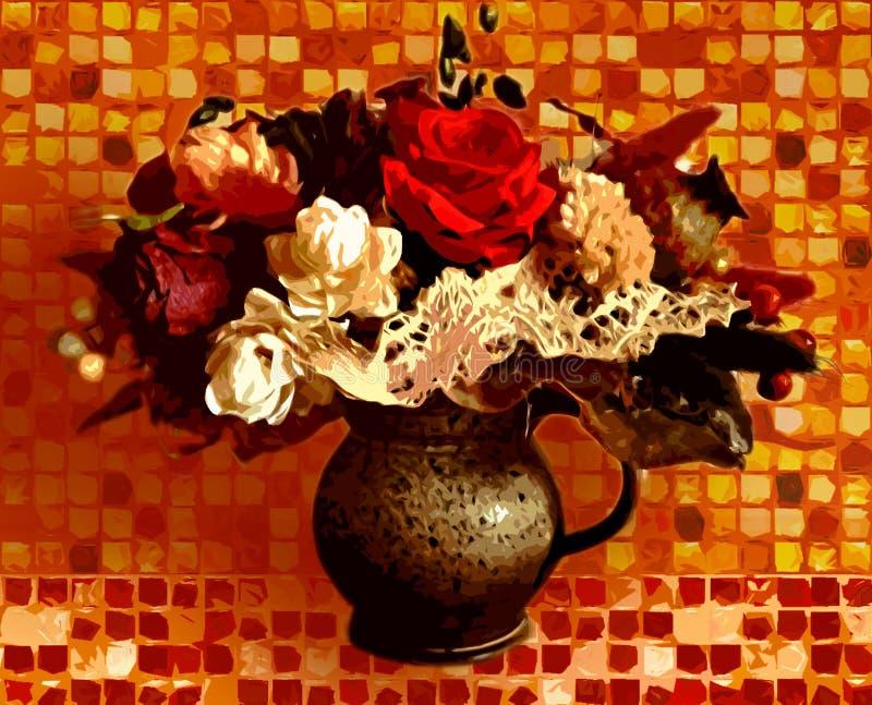 Bouquet peint dans un vase photo stock