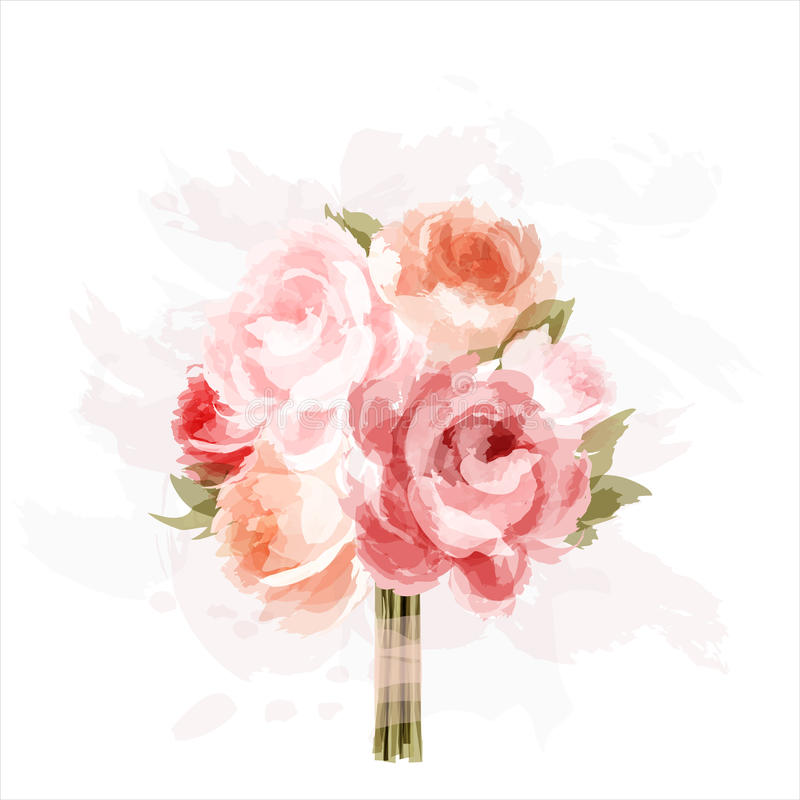 Bouquet of peonies royalty free illustration