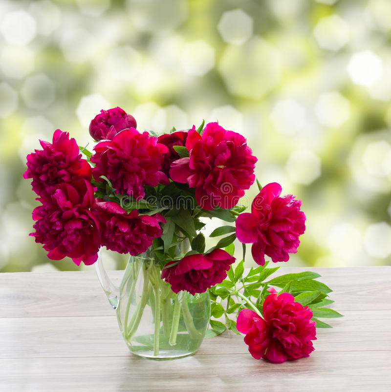 Bouquet of peonies on a garden table royalty free stock images