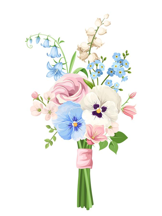 Bouquet of pink, blue and white flowers. Vector illustration. royalty free illustration