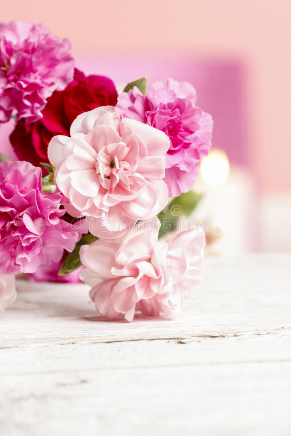 Bouquet of pink carnation flowers royalty free stock photo