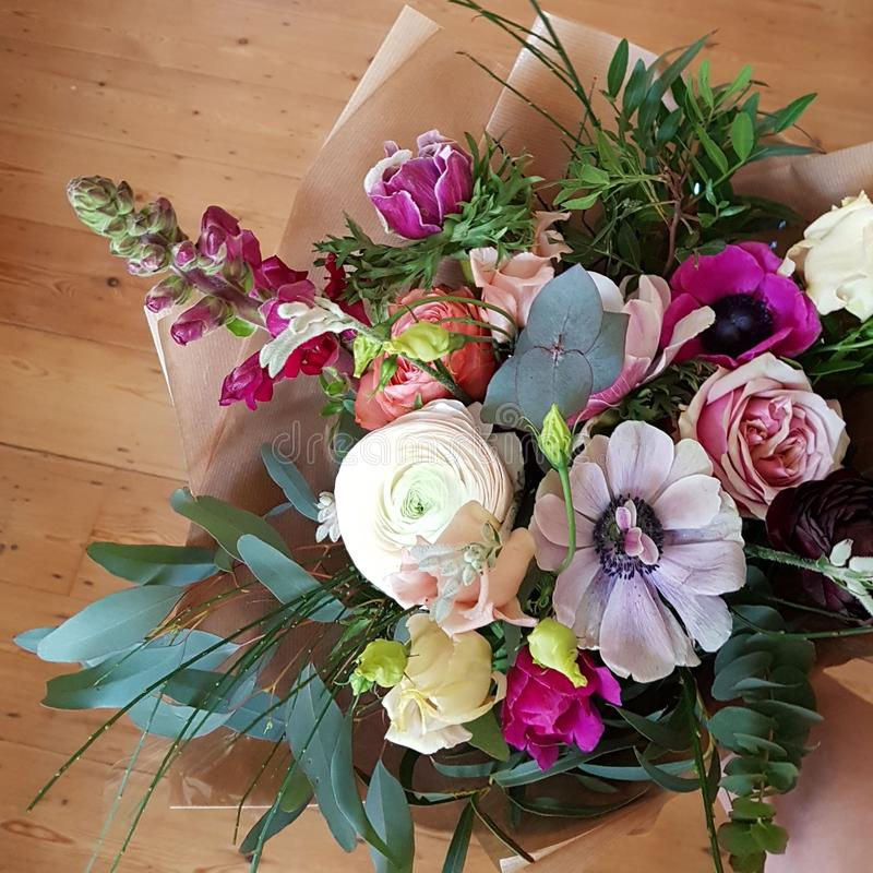 Bouquet of pink and white flowers and foliage royalty free stock photos