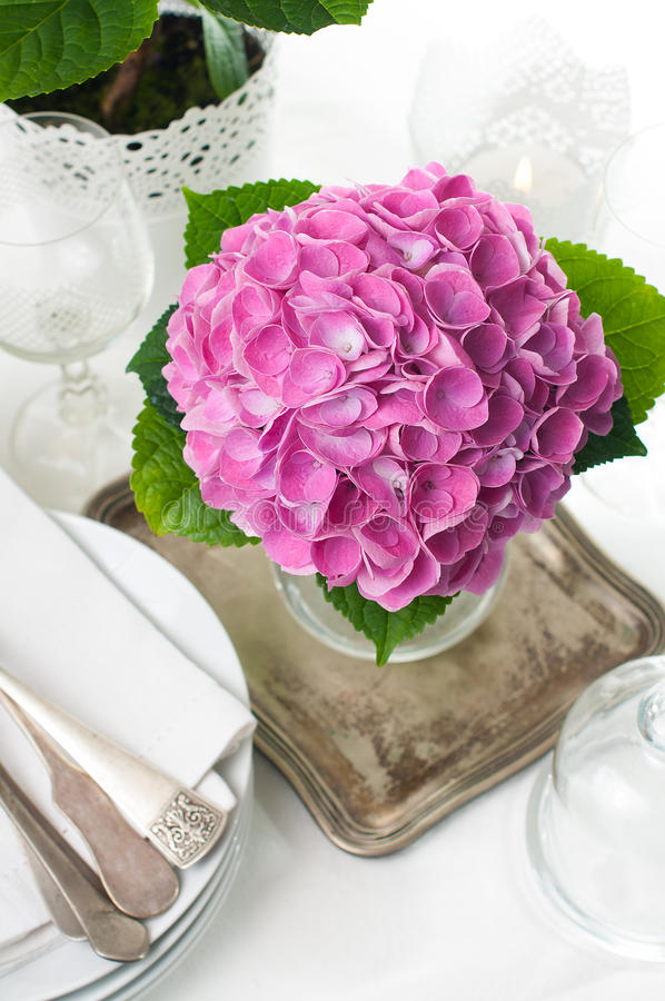 Download Pink Hydrangeas And Vintage Cutlery Stock Images - Image: 30216204