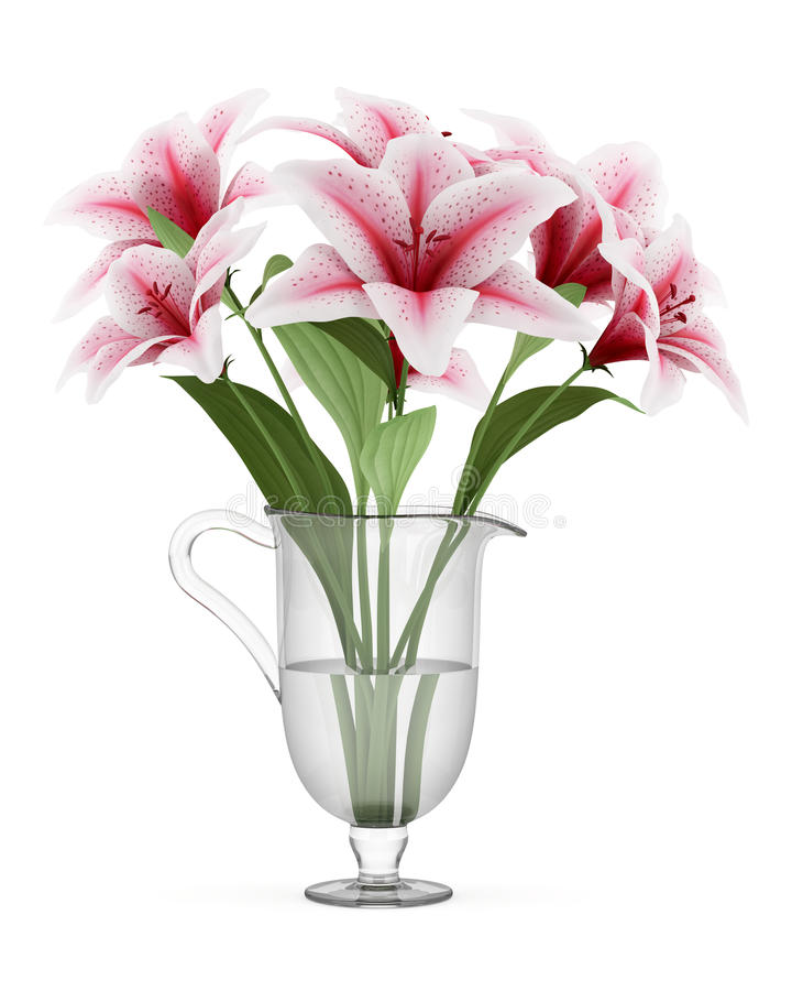 Bouquet of pink lilies in vase isolated on white vector illustration