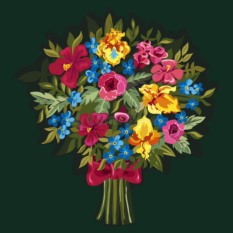 Bouquet of pink peonies and roses , yellow irises. Vector bouquet of pink peonies and roses , yellow irises, blue Forget-me-not, hibiscuses with green leaves stock illustration