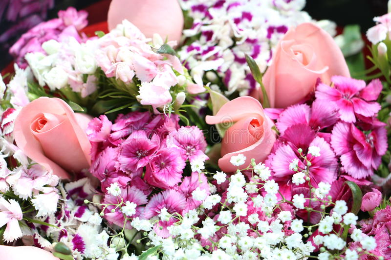 Bouquet Of Pink And Purple Flowers Stock Image - Image of floral ...