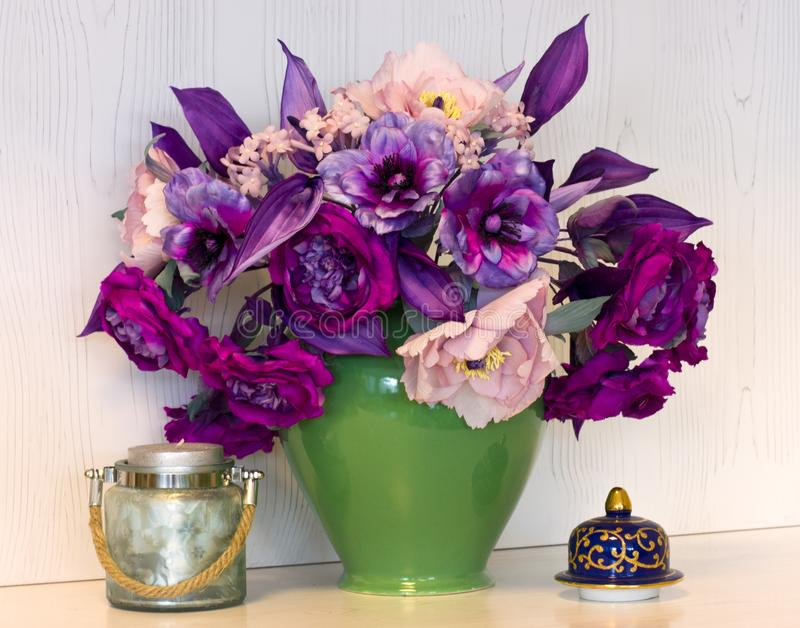 Bouquet of pink and purple peonies. Artificial flowers made of s royalty free stock images