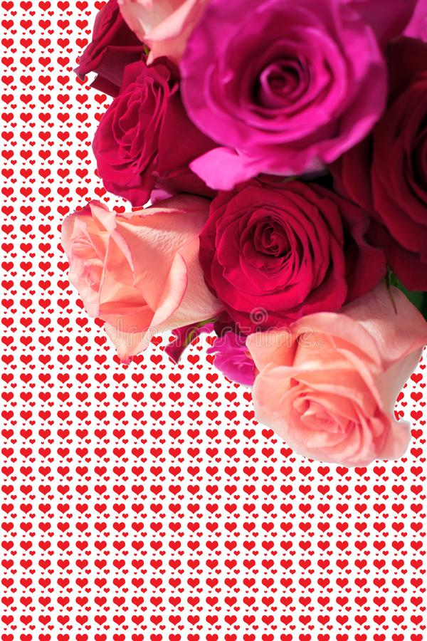 Bouquet of pink and red roses with hearts as background stock images