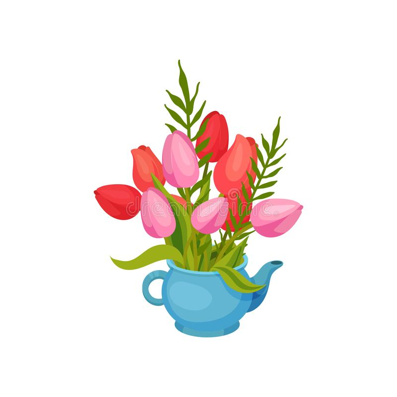 Bouquet of pink and red tulips standing in a teapot. Vector image on white background. Bouquet of pink and red tulips standing in a blue teapot. Decorate with royalty free illustration